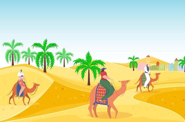 Podróżuj na zewnątrz gorącej pustyni postać na wielbłądzie