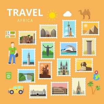 Podróżuj po afryce egipt piramida sfinks mapa kolaż
