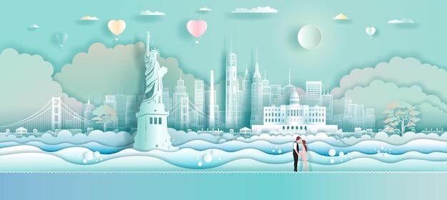 Podróżuj po ameryce z balonami miłosnymi i parą w papierowej sztuce origami wyciętej z papieru