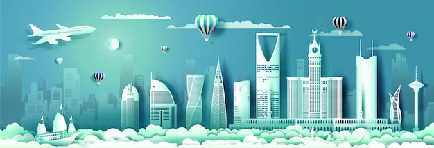 Podróżuj po arabii saudyjskiej z nowoczesnym budynkiem, panoramą, wieżowcem.