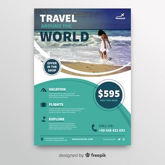 Podróżuj po całym świecie szablonu ulotki