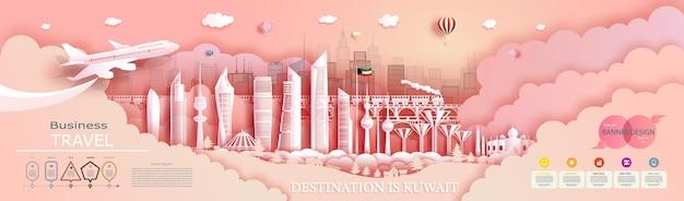 Podróżuj po kuwejcie, najlepszym światowym nowoczesnym wieżowcu i słynnej architekturze miasta. z infografiki. zwiedzanie miasta kuwejt punkt orientacyjny azji z popularną panoramę.
