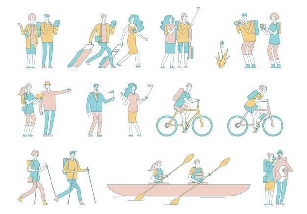 Podróżuj po ludziach. turysta, kobieta mężczyzna bagaż i torby.