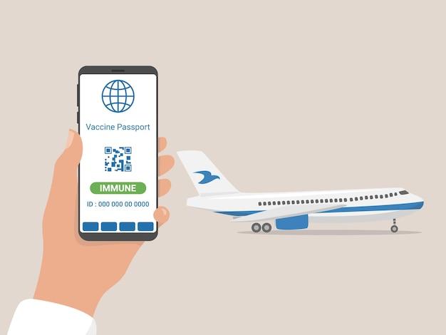 Podróżuj po nowe wymagania. zapobieganie covid-19. paszport szczepień, cyfrowy paszport odporności, koncepcja opieki zdrowotnej.