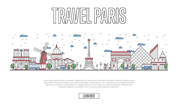 Podróżuj po stronie paryża w stylu liniowym