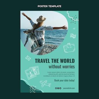 Podróżuj po świecie plakatu szablon