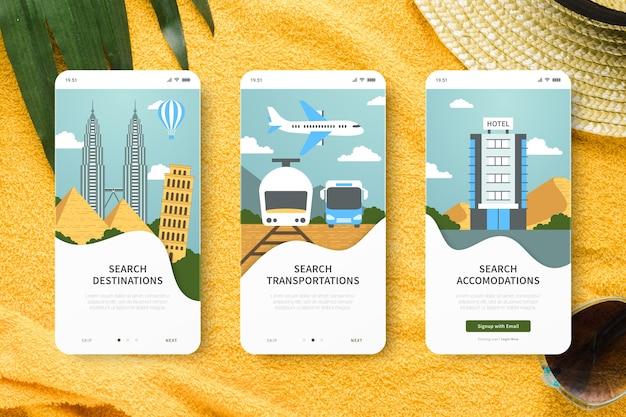 Podróżuj szablon aplikacji onboarding