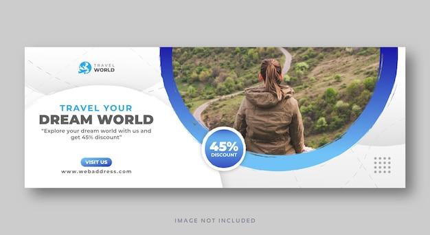 Podróżuj szablon banera internetowego okładki mediów społecznościowych