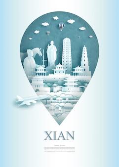 Podróżuj szpilka pomnika architektury china xian w azji ze starożytnymi.