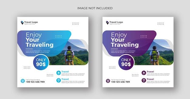 Podróżuj W Mediach Społecznościowych Po Kwadratowym Szablonie Banera Premium Wektorów