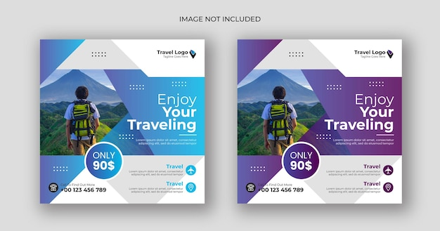 Podróżuj w mediach społecznościowych po kwadratowym szablonie banera