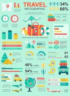 Podróżuj wakacje plakat z szablonem elementów infografiki w stylu płaski