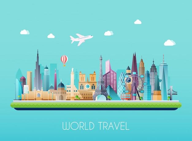 Podróżuj według koncepcji świata. turystyka. ilustracja.