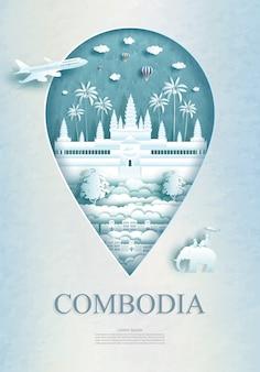Podróżuj z pomnikiem angkor wat w kambodży ze starożytną architekturą.