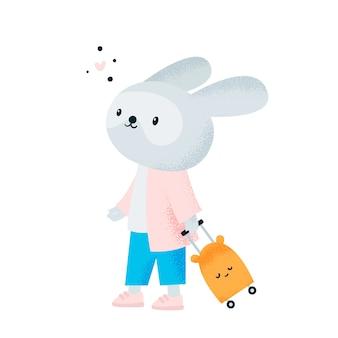 Podróżuj zwierzę. śliczny królik królik na lotnisku