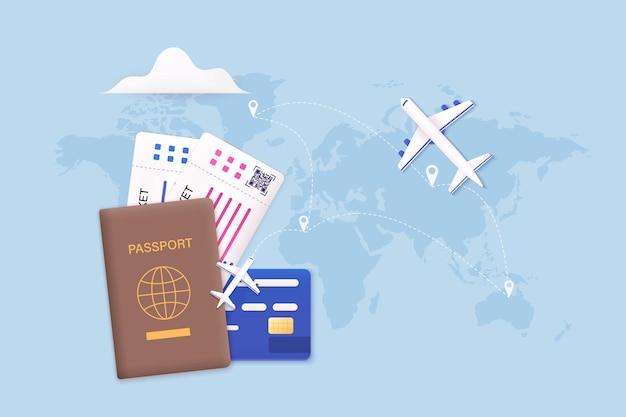 Podróżując samolotem, planując letnią turystykę wakacyjną koncepcja biletu online