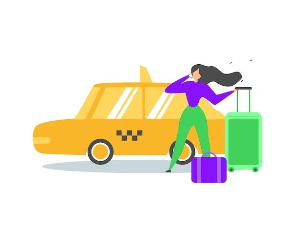 Podróżująca kobieta dzwoni taxi usługa wektoru płaskiego