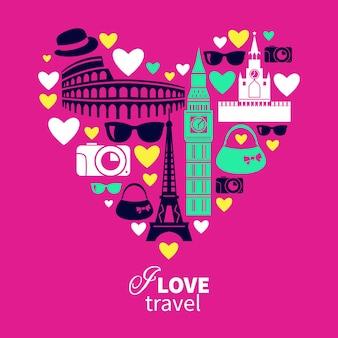 Podróżująca miłość. kształt serca z ikonami podróży