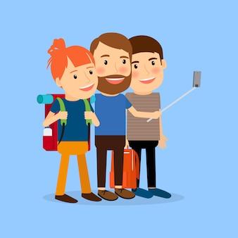 Podróżująca rodzina robi selfie
