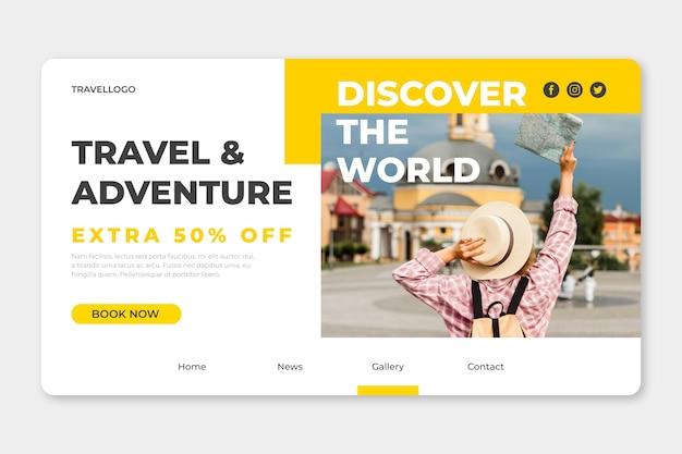 Podróżująca strona docelowa sprzedaży ze zdjęciem