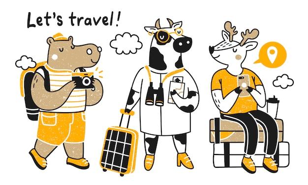 Podróżujące zwierzęta. kolekcja z uroczymi zwierzętami na wycieczce. hipopotam, krowa i łoś.
