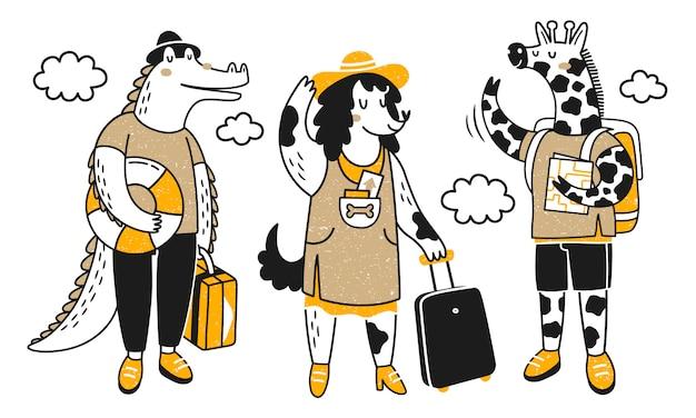 Podróżujące zwierzęta. kolekcja z uroczymi zwierzętami na wycieczce. krokodyl, pies i żyrafa.