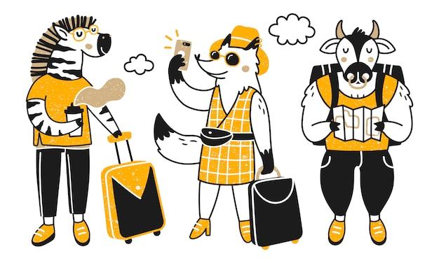 Podróżujące zwierzęta. kolekcja z uroczymi zwierzętami na wycieczce. zebra, lis i byk.