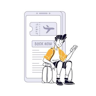 Podróżujący chłopiec rezerwujący lot za pomocą aplikacji mobilnych premium kolor i ilustracja konturowa premium