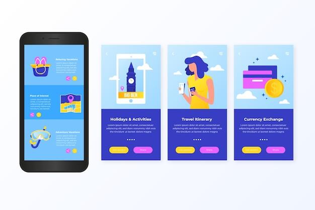 Podróżujący ekran aplikacji pokładowej