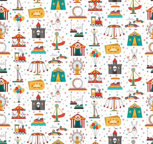 Podróżujący karnawałowy park rozrywki przedstawienia jarmarku bezszwowy świąteczny wzór z retro bileta błazenem