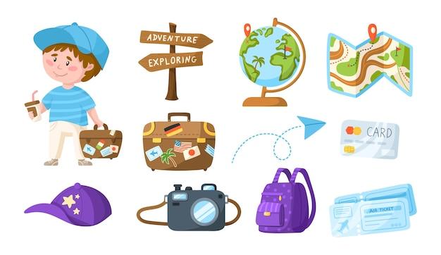 Podróżujący kreskówka ładny chłopiec z kawą i walizką - dzieci podróżują lub wakacje