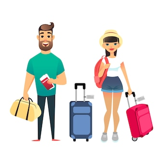 Podróżujący ludzie czekający na samolot lub pociąg