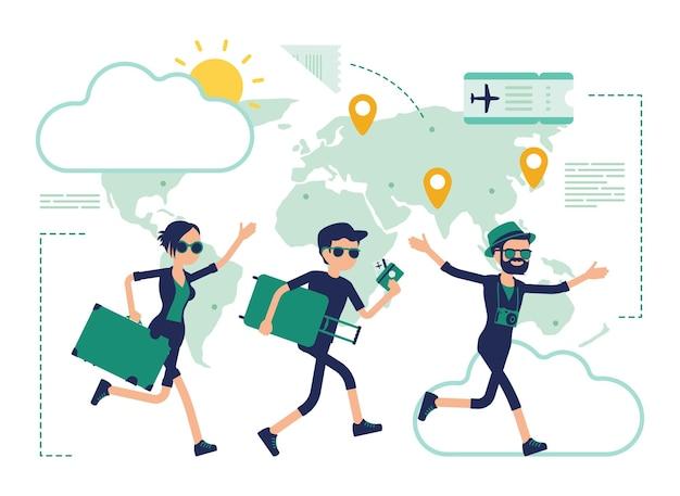 Podróżujący ludzie wybierają się na wycieczkę