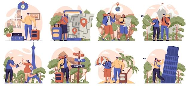 Podróżujący ludzie zbiór odosobnionych scen podróżujący wybierają się na wakacje do ośrodka turystycznego