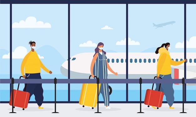 Podróżujący międzyrasowi ludzie z walizkami