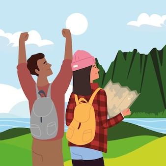 Podróżujący para z mapą naturalną sceną