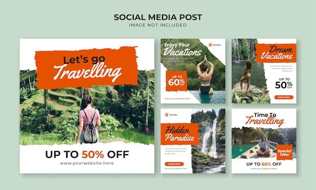 Podróżujący szablon postu na instagramie w mediach społecznościowych