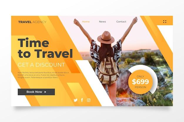 Podróżujący szablon strony docelowej sprzedaży ze zdjęciem