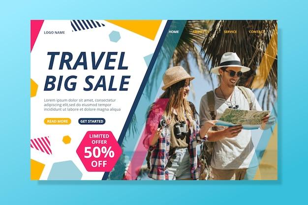 Podróżujący szablon strony internetowej sprzedaży ze zdjęciem