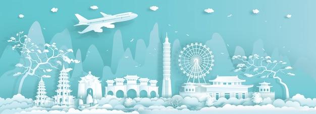 Podróżuje azja punktów zwrotnych miasto tajwan taipei na błękitnym tle.