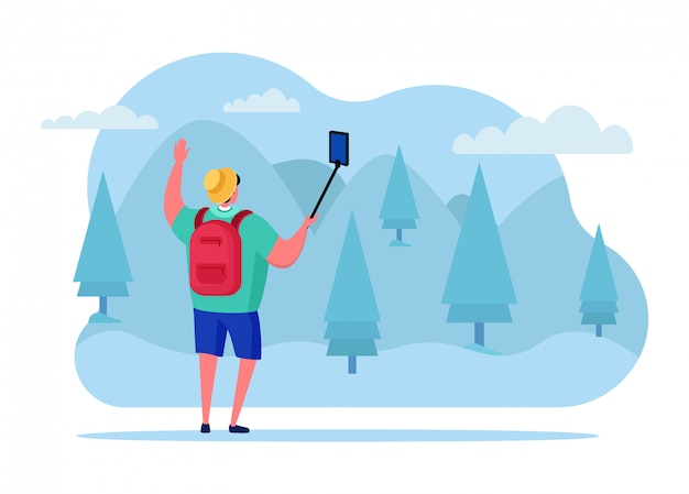 Podróżuje blogować online plenerowego parka streamować, męskiego charakteru sporta interneta transmitowania gospodarz odizolowywający na białej, płaskiej ilustraci ,.
