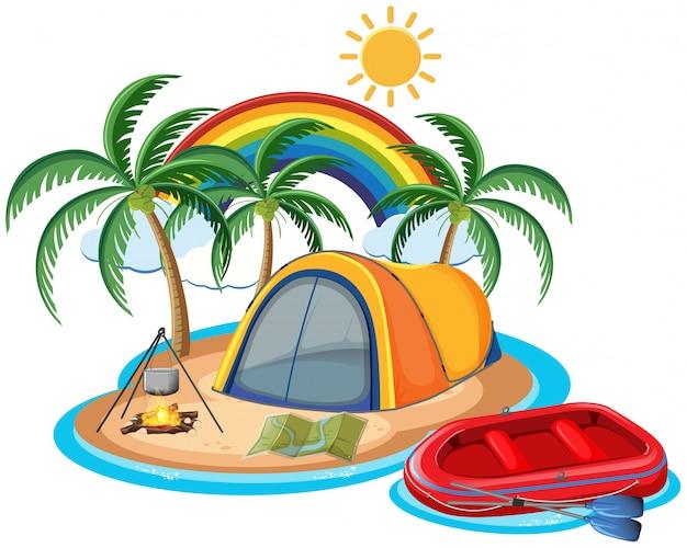 Podróżuje campingowego lato na wyspy plaży temacie odizolowywającym na białym tle