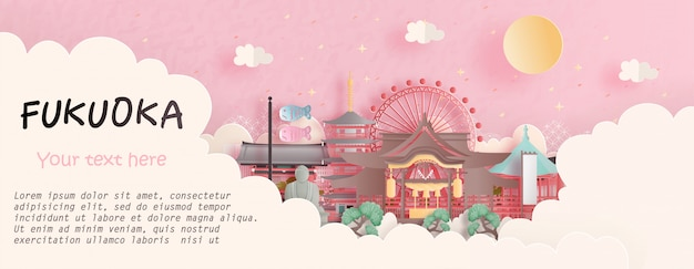 Podróżuje pojęcie z fukuoka, japonia sławnym punktem zwrotnym w różowym tle. ilustracja cięcia papieru