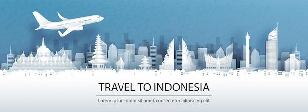 Podróżuje reklamę z podróżą indonezja pojęcie z panorama widokiem