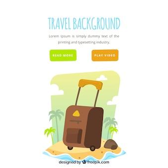 Podróżuje tło z walizką przy plażą