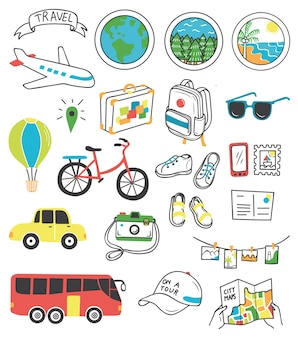 Podróży doodle zestaw ilustracji wektorowych