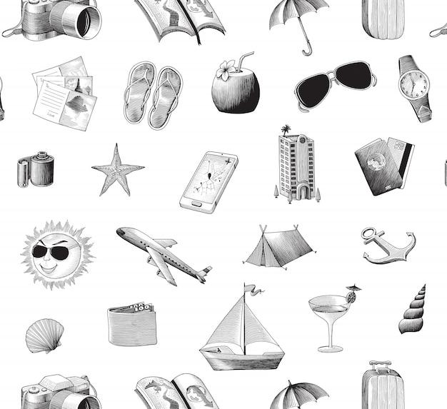 Podróży ikon bezszwowa deseniowa ręka rysuje rocznika styl, odosobnionego.
