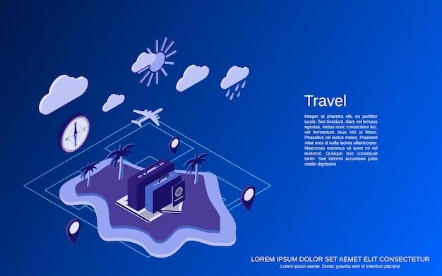 Podróży płaski 3d izometryczny wektor ilustracja koncepcja