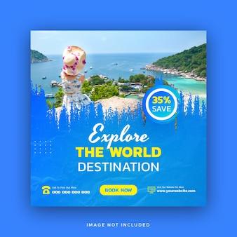 Podróży szablon postu w mediach społecznościowych baner internetowy na wycieczkę wakacje wakacje kwadratowa ulotka vector design