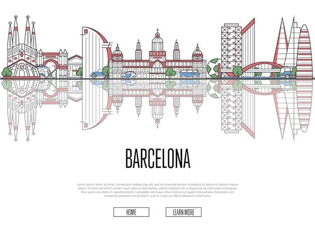 Podróży szablon sieci barcelona w stylu liniowym